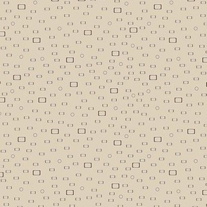 Brown rectangles, squares and circles against a beige background
