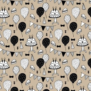 The minimalist birthday celebration party print garlands balloons and birthday cake design neutral beige latte black and white