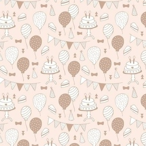 The minimalist boho birthday celebration party print garlands balloons and birthday cake design neutral beige nude blush