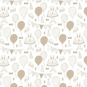 The minimalist boho birthday celebration party print garlands balloons and birthday cake design neutral beige on white