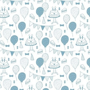 The minimalist boho birthday celebration party print garlands balloons and birthday cake design neutral blue on white