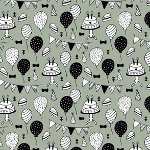 The minimalist boho birthday celebration party print garlands balloons and birthday cake design neutral khaki green white black