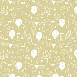 The minimalist boho birthday celebration party print garlands balloons and birthday cake design neutral spring lime yellow