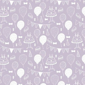 The minimalist boho birthday celebration party print garlands balloons and birthday cake design neutral spring lilac purple white