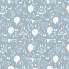 The minimalist boho birthday celebration party print garlands balloons and birthday cake design moody blue boys white