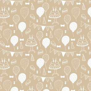 The minimalist boho birthday celebration party print garlands balloons and birthday cake design neutral soft beige camel