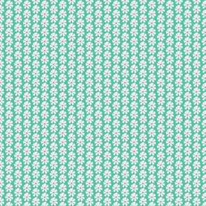 Biscay Green and white flowers stripe