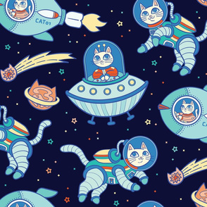 Cats in Space in Dark Blue {Large}