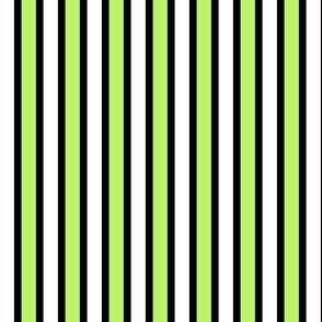 Black, White and Bright Stripes (#1) - Narrow Black Ribbons with Pretty Pale Green and White