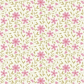 floral vines in millennial pink and citron