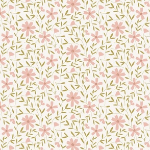 floral vines in blush and citron