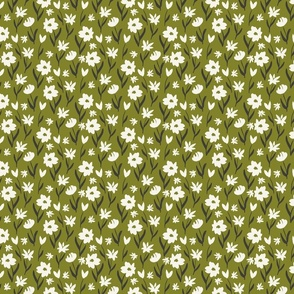 painted flowers mustard green