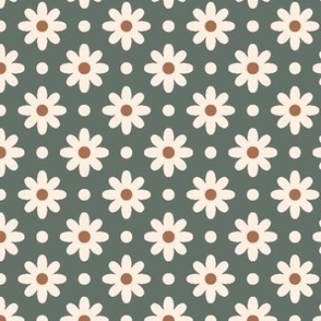 daisies and dots emerald
