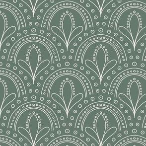 art deco boho scallop green