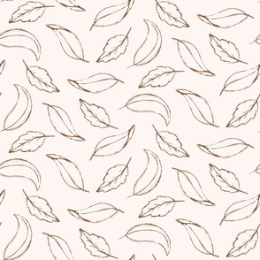 sketched leaves in cream and marsala
