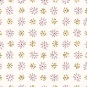retro daisies in pink and gold