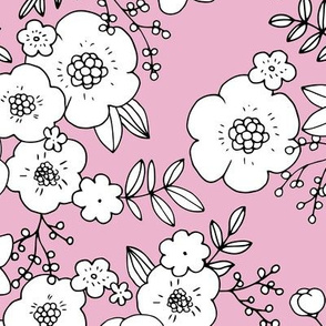 Romantic boho rose garden sweet spring summer blossom vintage style large scale scandinavian design cool pink white