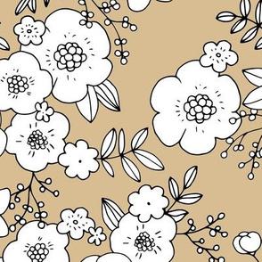 Romantic boho rose garden sweet spring summer blossom vintage style large scale scandinavian design pastel yellow camel beige