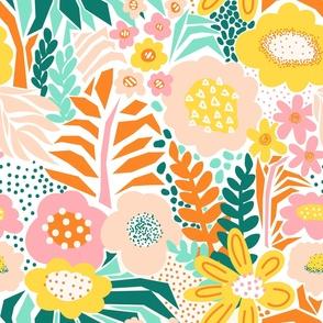 Large Florals Pink Yellow Teal Orange