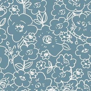 Messy boho flower garden sweet spring summer blossom vintage style large scale scandinavian design moody blue