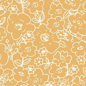 Messy boho flower garden sweet spring summer blossom vintage style large scale scandinavian design bright honey yellow