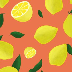 lemons on red