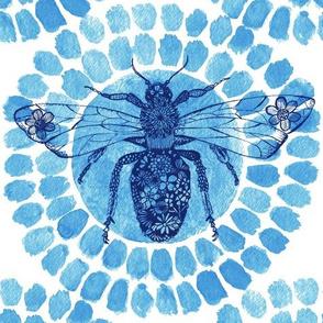 Queen Bee Indigo Blue_art deco