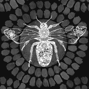 Queen Bee Black Grey and White