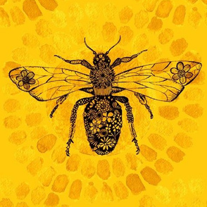 Queen Bee Yellow and Black Intricate line art