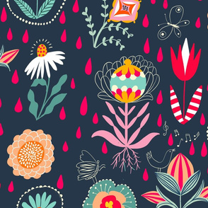 singing in the rain folk florals // large scale