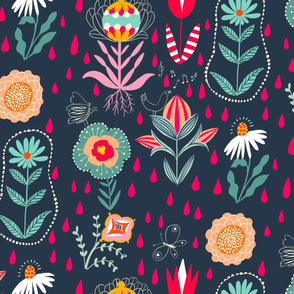 singing in the rain folk florals // small scale