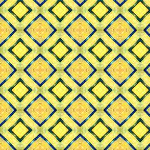 Lemon yellow and blue diamond pattern