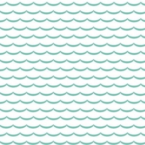 white and mint green scallop fabric and wallpaper