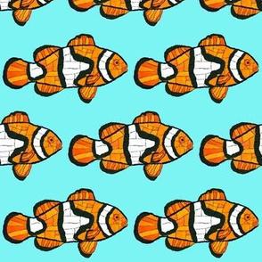 Mosaic Clownfish cyan blue