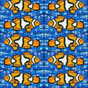 Mosaic Clownfish Blue Marble pair