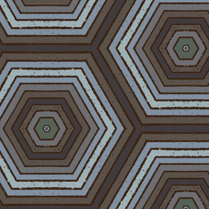 Concentric Hexagons M+M Chia Multi Grays Large Scale by Friztin