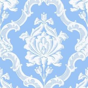 Oldoini Damask ~ White on Jasper Blue
