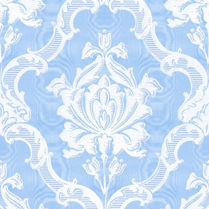 Oldoini Damask ~ White on Jasper Blue Faux Moire