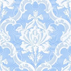 Oldoini Damask ~ White on Jasper Blue Faux Moire