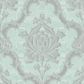 Oldoini Damask ~ Soft Silver on Eau-de-Nil Faux Moire