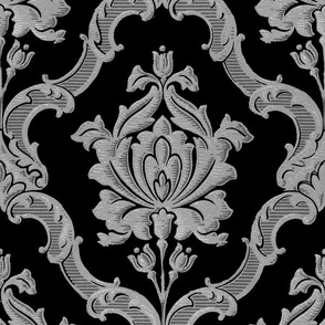 Oldoini Damask ~ Faux Silver on Black