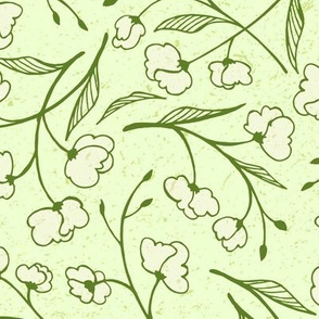 Sweet Pea Blossoms on Green (Large Scale)