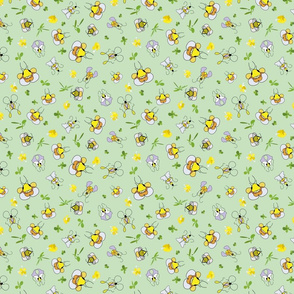 Bee, bug, butterfly in spring summer garden green background