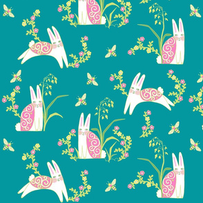 Bunny Meadow, large scale, teal