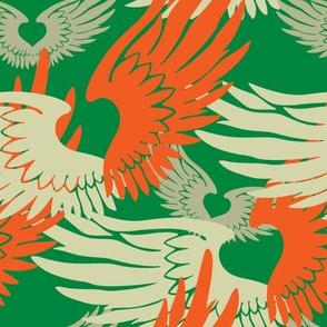 Heartwings II: Green, Orange, Beige