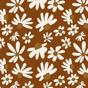Daisy Floral / Burnt Orange