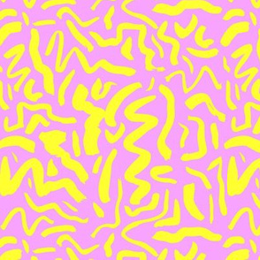 Messy neon ink dashes and brush strokes abstract paint minimal trend design boho style nursery bright pink lemon yellow