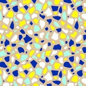Minimal terrazzo texture abstract scandinavian trend classic basic spots design spring summer bright yellow mint beige eclectic blue
