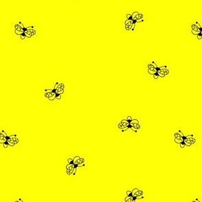 Minimalist neon buzzing bees sweet kids insects pollination design bright neon lemon yellow black