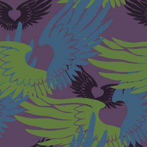 Heartwings II: Purple, Blue, Green